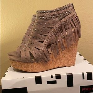 Size 8 Not Rated fringe wedges from Buckle